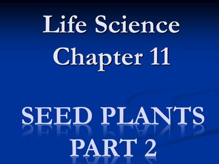 Life Science Chapter 11 Seed Plants Part 2.