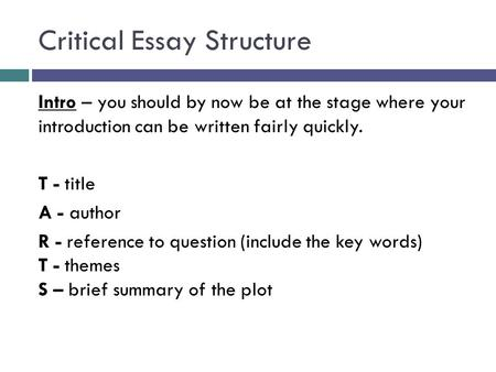 Critical Essay Structure