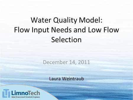Water Quality Model: Flow Input Needs and Low Flow Selection December 14, 2011 Laura Weintraub.