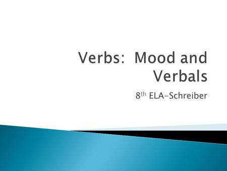 8 th ELA-Schreiber.  English verbs have four moods: indicative, imperative, subjunctive, and infinitive.  Mood is the form of the verb that shows the.