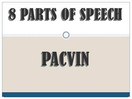 © Capital Community College 8 PARTS OF SPEECH PACVIN 8 PARTS OF SPEECH PACVIN.