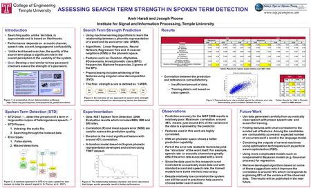 ASSESSING SEARCH TERM STRENGTH IN SPOKEN TERM DETECTION Amir Harati and Joseph Picone Institute for Signal and Information Processing, Temple University.