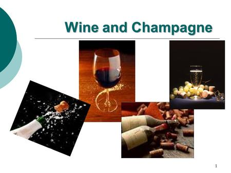 Wine and Champagne 1 Wine in France  France makes the best wine in the world High quality wines Excellent wine makers Advanced wine-making technologies.