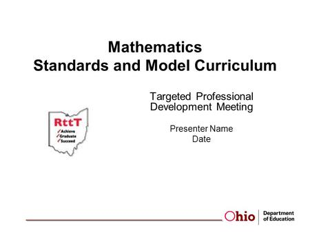 Mathematics Standards and Model Curriculum