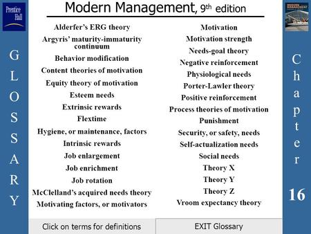 C h a p t e r 16 GLOSSARYGLOSSARY EXIT Glossary Modern Management, 9 th edition Click on terms for definitions Alderfer's ERG theory Argyris' maturity-immaturity.