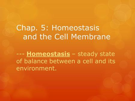 Chap. 5: Homeostasis and the Cell Membrane --- Homeostasis – steady state of balance between a cell and its environment.