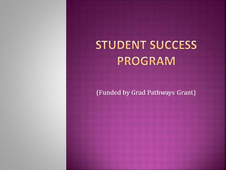 (Funded by Grad Pathways Grant).  Students at-risk for leaving high school before graduation.  Lack of attachment to school  Special educational needs.