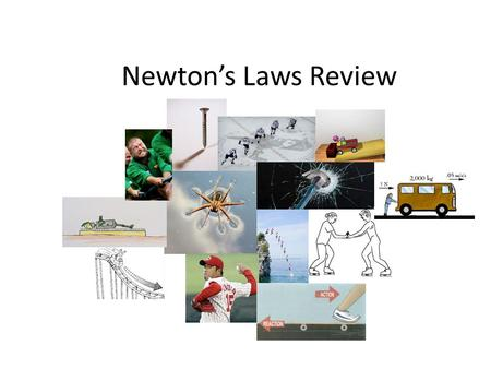 Newton's Laws Review. Name the Law What are the forces? Law: Forces: 1 st : Object at rest will stay at rest(balanced) 2 nd: F=ma (who has the most Newtons?)