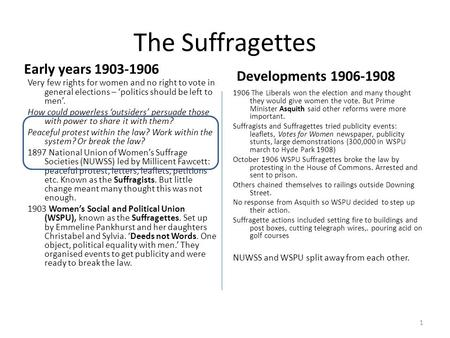 The Suffragettes Early years Developments