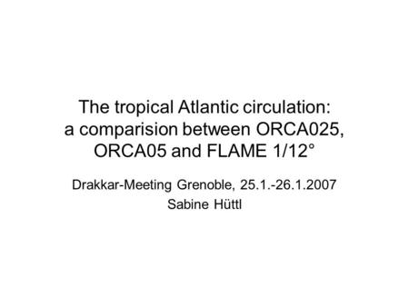 The tropical Atlantic circulation: a comparision between ORCA025, ORCA05 and FLAME 1/12° Drakkar-Meeting Grenoble, 25.1.-26.1.2007 Sabine Hüttl.