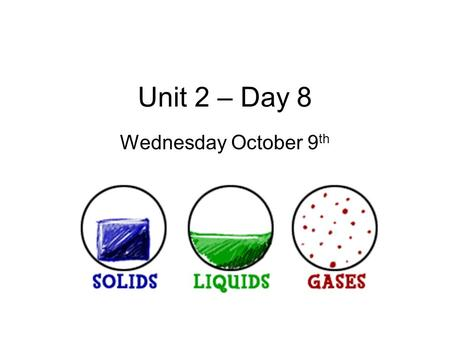 Unit 2 – Day 8 Wednesday October 9 th. Candle Lab Drill Answer in complete sentences or copy questions: 1. As a candle melts all the way down, how does.