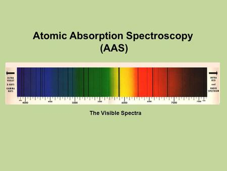 Atomic Absorption Spectroscopy (AAS) The Visible Spectra.