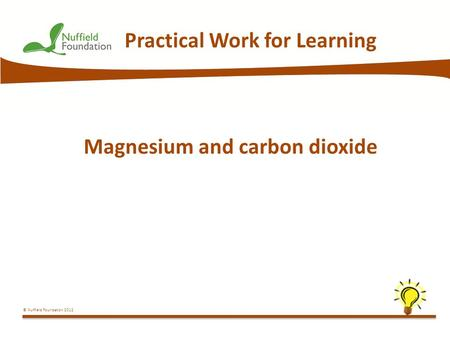© Nuffield Foundation 2012 Practical Work for Learning Magnesium and carbon dioxide.