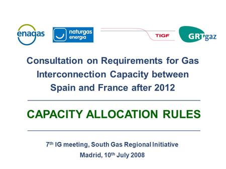 7 th IG meeting, South Gas Regional Initiative Madrid, 10 th July 2008 Consultation on Requirements for Gas Interconnection Capacity between Spain and.