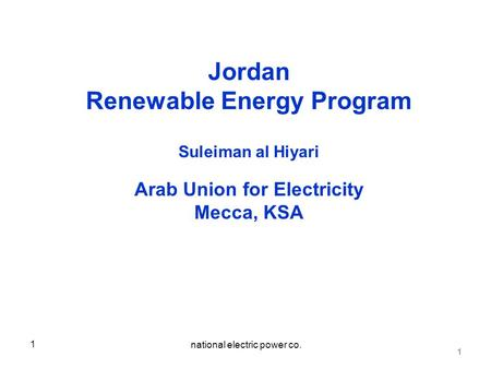 Renewable Energy Program Arab Union for Electricity