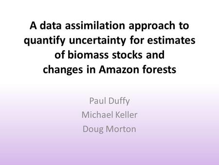 A data assimilation approach to quantify uncertainty for estimates of biomass stocks and changes in Amazon forests Paul Duffy Michael Keller Doug Morton.