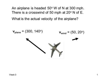 Week 31 An airplane is headed 50 o W of N at 300 mph. There is a crosswind of 50 mph at 20 o N of E. What is the actual velocity of the airplane? v plane.