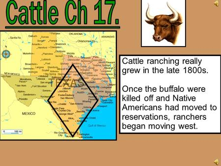 Cattle Ch 17. Cattle ranching really grew in the late 1800s.