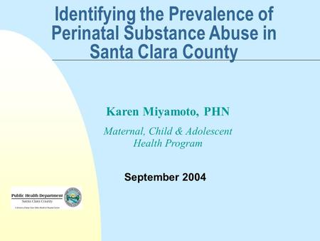 Identifying the Prevalence of Perinatal Substance Abuse in Santa Clara County September 2004 Karen Miyamoto, PHN Maternal, Child & Adolescent Health Program.