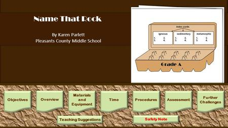 Name That Rock By Karen Parlett Pleasants County Middle School 1.Students work in groups of 4 or 5. Each group will need a small container of mixed gravel,