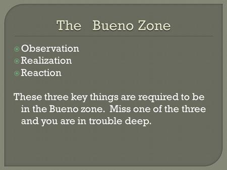  Observation  Realization  Reaction These three key things are required to be in the Bueno zone. Miss one of the three and you are in trouble deep.