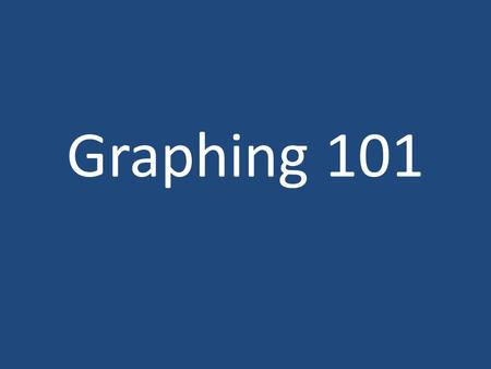 Graphing 101. Graphing basics Use: graph paper a ruler a pencil (be neat) Connect data points using a line or curve of best fit.