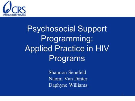 1 Psychosocial Support Programming: Applied Practice in HIV Programs Shannon Senefeld Naomi Van Dinter Daphyne Williams.