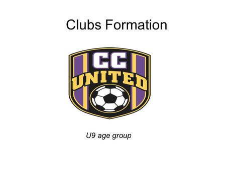 Clubs Formation U9 age group. S WW CD GK Formation 1-1-1-1 +2 Wide CM.