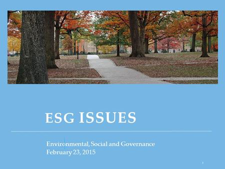 ESG ISSUES Environmental, Social and Governance February 23, 2015 1.