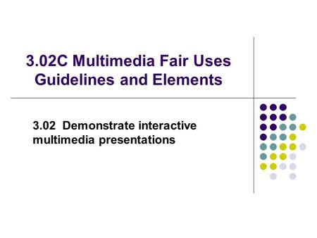 3.02C Multimedia Fair Uses Guidelines and Elements