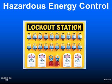 Hazardous Energy Control Brady Corp. OR-OSHA 204 1003.