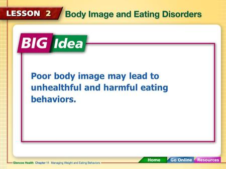 Poor body image may lead to unhealthful and harmful eating behaviors.