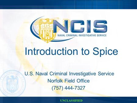Introduction to Spice U.S. Naval Criminal Investigative Service Norfolk Field Office (757) 444-7327 UNCLASSIFIED.