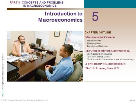 1 of 38 © 2012 Pearson Education, Inc. Publishing as Prentice Hall PART II Concepts and Problems in Macroeconomics CHAPTER OUTLINE 5 Introduction to Macroeconomics.