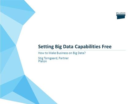Setting Big Data Capabilities Free How to Make Business on Big Data? Stig Torngaard, Partner Platon.