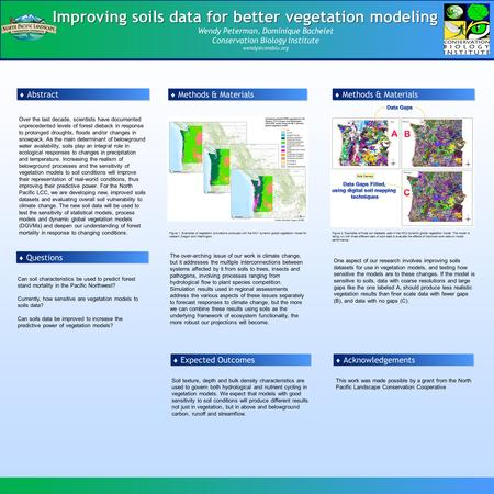 Improving soils data for better vegetation modeling Wendy Peterman, Dominique Bachelet Conservation Biology Institute  Abstract Over.