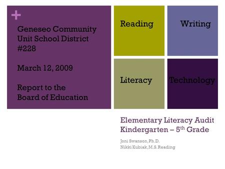 Elementary Literacy Audit Kindergarten – 5th Grade
