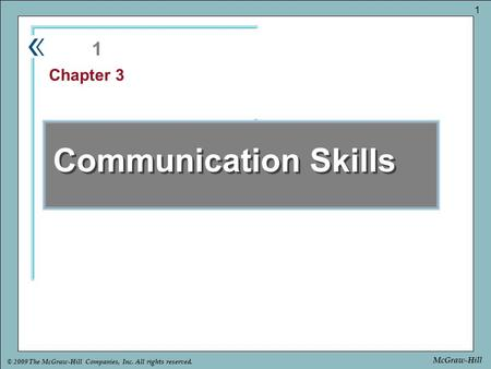 1 Chapter 3 Communication Skills.