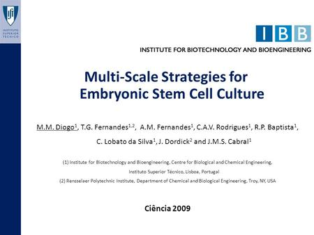 Multi-Scale Strategies for Embryonic Stem Cell Culture M.M. Diogo 1, T.G. Fernandes 1,2, A.M. Fernandes 1, C.A.V. Rodrigues 1, R.P. Baptista 1, C. Lobato.