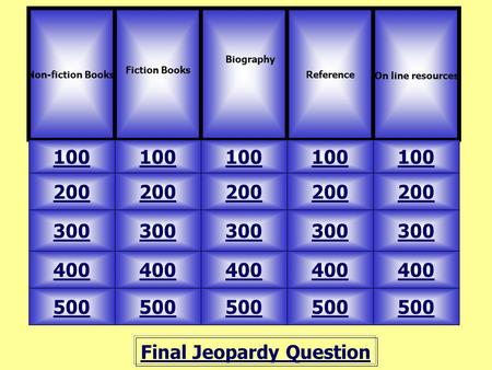Final Jeopardy Question Non-fiction Books. Fiction Books 100 Reference On line resources 500 400 300 200 100 200 300 400 500 Biography.