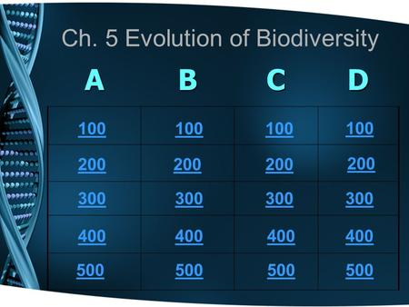 Ch. 5 Evolution of Biodiversity ABCD 100 200 300 400 500 100 200 300 400 500 100 200 300 400 500 100 300 400 500 200.