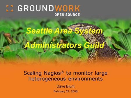 Scaling Nagios ® to monitor large heterogeneous environments Dave Blunt February 21, 2008 Seattle Area System Administrators Guild.