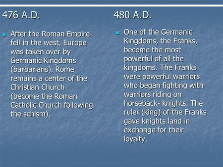476 A.D.480 A.D. After the Roman Empire fell in the west, Europe was taken over by Germanic Kingdoms (barbarians). Rome remains a center of the Christian.
