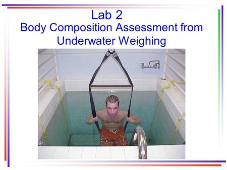 Lab 2 Body Composition Assessment from Underwater Weighing.