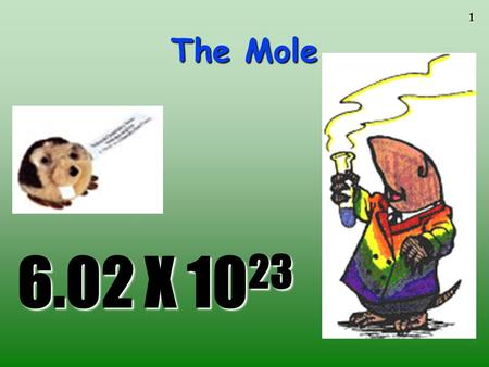 The Mole To play the movies and simulations included, view the presentation in Slide Show Mode. 6.02 X 1023.