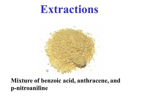 Extractions Mixture of benzoic acid, anthracene, and p-nitroaniline.