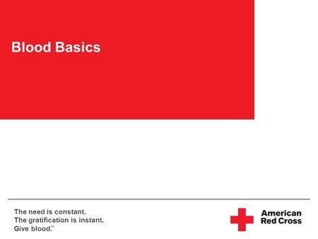 The need is constant. The gratification is instant. Give blood. TM Blood Basics.