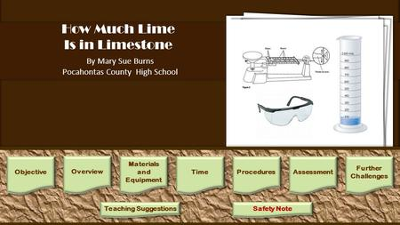 How Much Lime Is in Limestone By Mary Sue Burns Pocahontas County High School 1.Place students in small groups. Each group will need beakers, supply of.