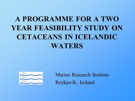 A PROGRAMME FOR A TWO YEAR FEASIBILITY STUDY ON CETACEANS IN ICELANDIC WATERS Marine Research Institute Reykjavík, Iceland.