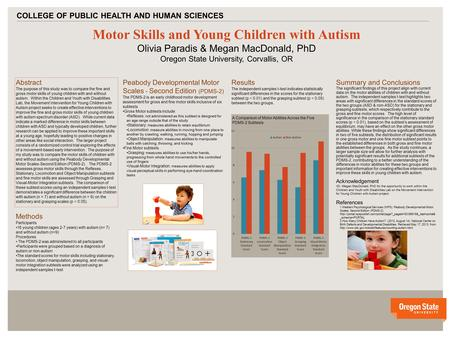 V v Motor Skills and Young Children with Autism Olivia Paradis & Megan MacDonald, PhD Oregon State University, Corvallis, OR COLLEGE OF PUBLIC HEALTH AND.